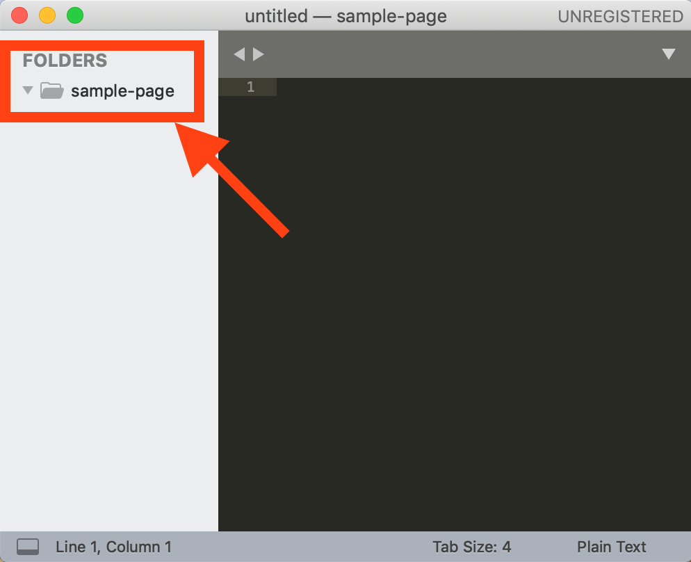 Sublime Textにフォルダが入った