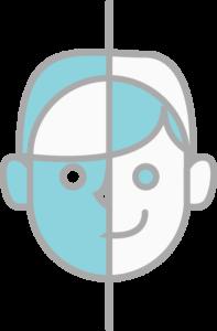 表の顔と裏の顔のイラスト