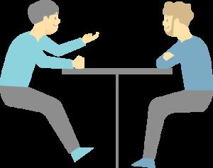 二人で会話する男性のイラスト