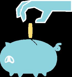 ブタの貯金箱にお金を入れるイラスト