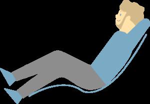 寝ながらのんびりする男性のイラスト